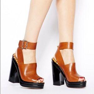 ASOS Heist Leather Heeled Platform Sandals